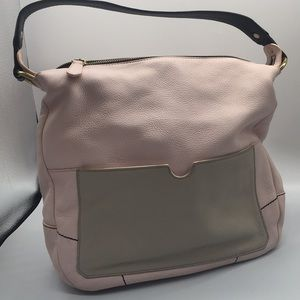 OrYany pink leather satchel purse Tan contrast (A)
